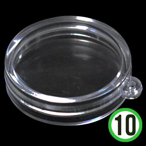 투명케이스*원형*10개입*지름6cm*두께18mm E-08-106