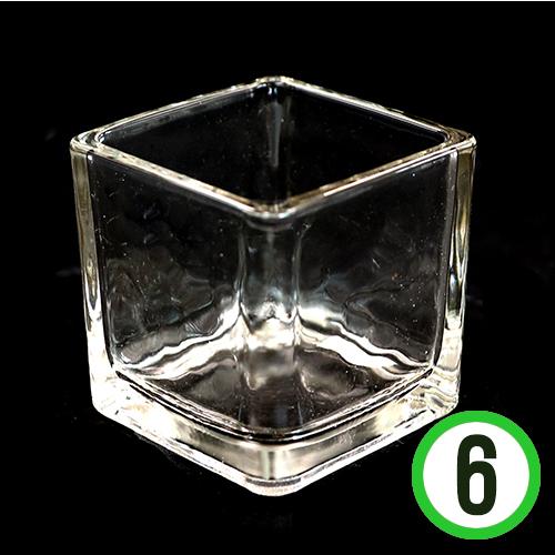 유리용기 *정사각 컵* 6cm(6개입) P-05-207