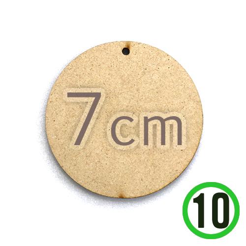 MDF 1구멍 원형판 7cm (10개입) 두께 3mm R-06-305