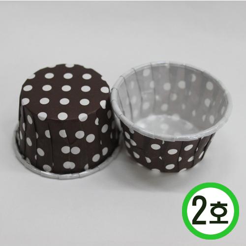 머핀컵2호*밤색물방울 5(지름)*3(높이) 20개입 O-06-204