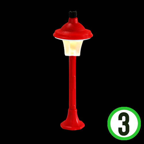 LED 가로등 *빨강* 4.5x13cm (3개입)   W-05-105