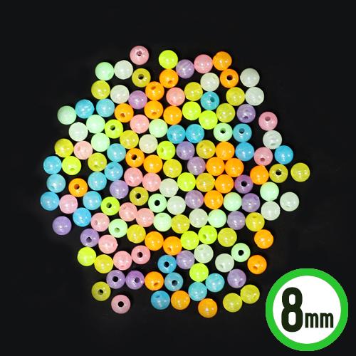 야광구슬 *8mm* (100g입/약450개입)  M-04-207