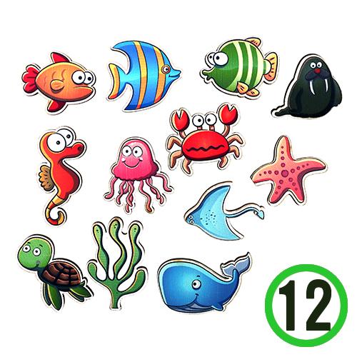 SB-154 *우드장식 *바다생물 12종 (12개입)    F-07-313