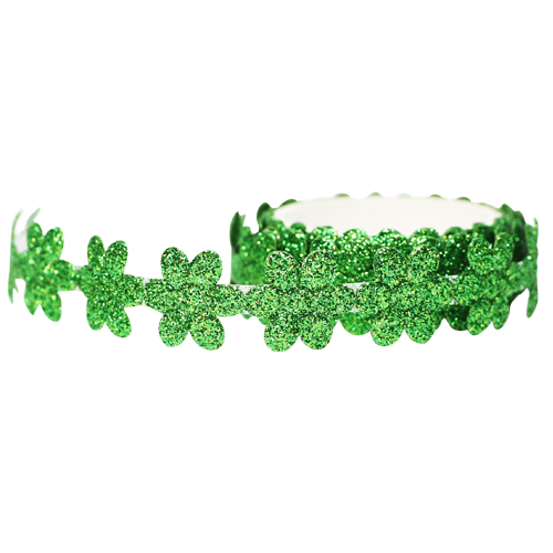 꽃모양 반짝이 테이프 *초록 폭1.8 (약1m입)    C-02-207