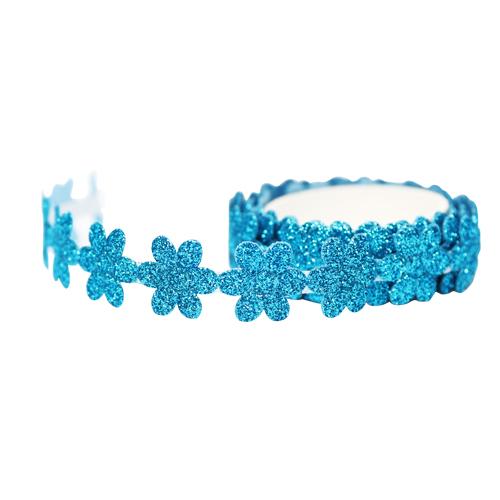 꽃모양 반짝이 테이프 *파랑 폭1.8 (약1m입)     C-02-213