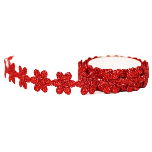 꽃모양 반짝이 테이프 *빨강 폭1.8 (약1m입)     C-02-214