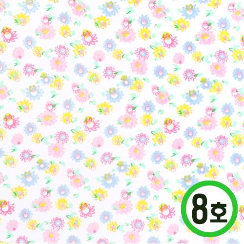 패브릭스티커*8호 꽃무늬*분홍 21x29cm    EX-06