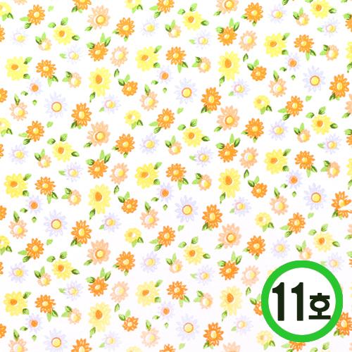 패브릭스티커*11호 *꽃무늬*노랑* 21x29cm    EX-06