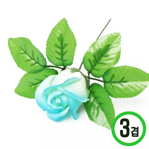 비누장미*스카이블루 그라데이션 *6x6cm(50개입)*꽃대 미포함*3겹비누