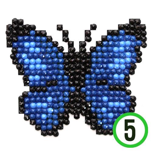 보석십자수*접착식*나비*파랑 9x9cm (5개입)  A-12-116