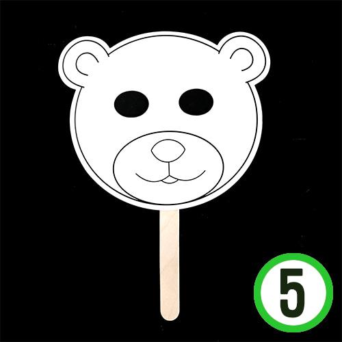 동물 가면*곰돌이*5색펜포함*19.5x16.5cm(5개입)  N-08-02
