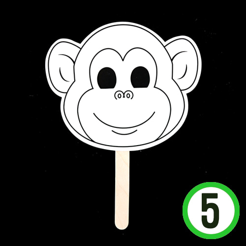 동물 가면*원숭이*5색펜포함*19.5x16cm(5개입)  N-08-02