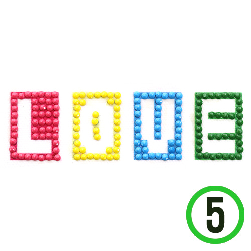 보석십자수*접착식 *LOVE* 12x5.5cm (5개입) Z-05-314