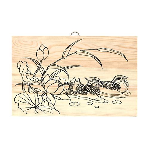 (MH) 나무문패/ 나무액자 *연꽃오리* 28*18 *1.5cm
