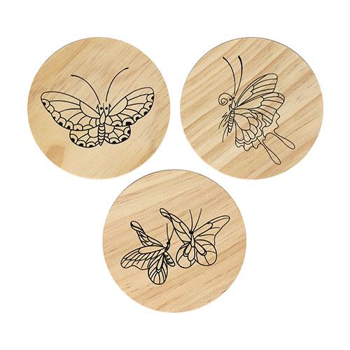 (MH) 민화 컵받침/나무액자 *나비* (3개 1세트) 직경7~9cm