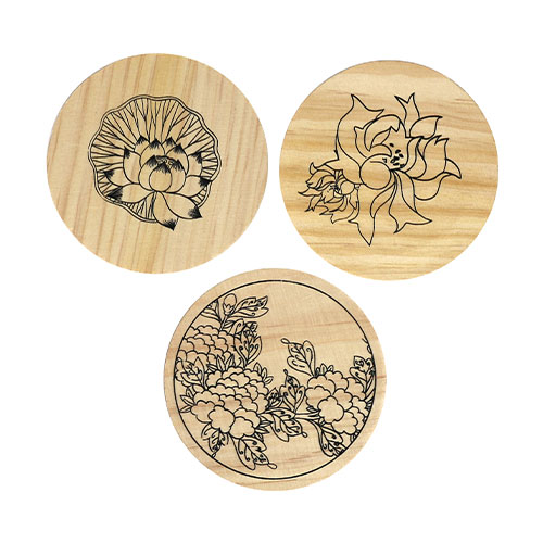 (MH) 민화 컵받침/나무액자 *꽃1* (3개 1세트) 직경7~9cm