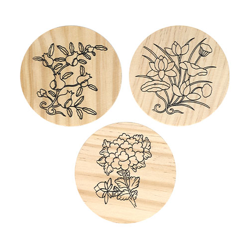 (MH) 민화 컵받침/나무액자 *꽃2* (3개 1세트) 직경7~9cm