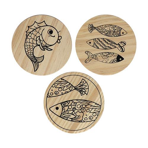 (MH) 민화 컵받침/나무액자 *물고기* (3개 1세트) 직경7~9cm