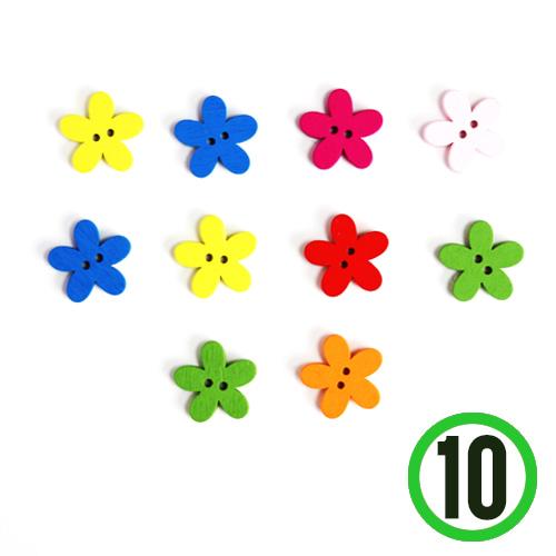 SB-42*2구 칼라단추 *꽃모양 (10개입) 2cm   D-04-103