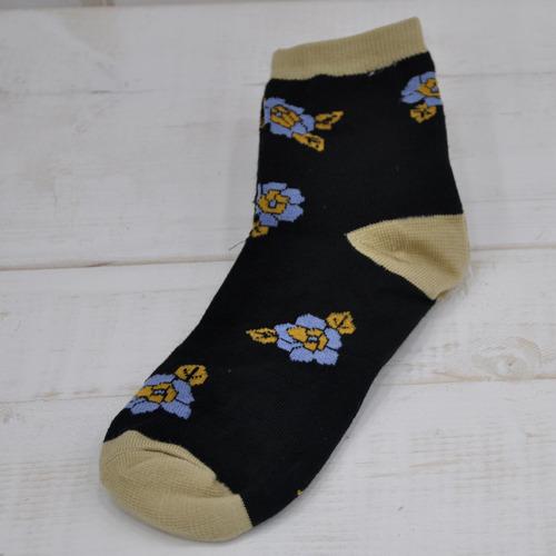 꽃무늬양말*검정+블루꽃*기본형 Z-08-115