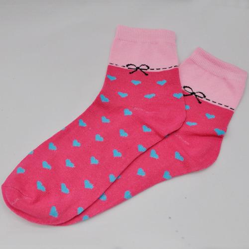 스티치리본하트양말 *핑크* 30cm *Z-08-102
